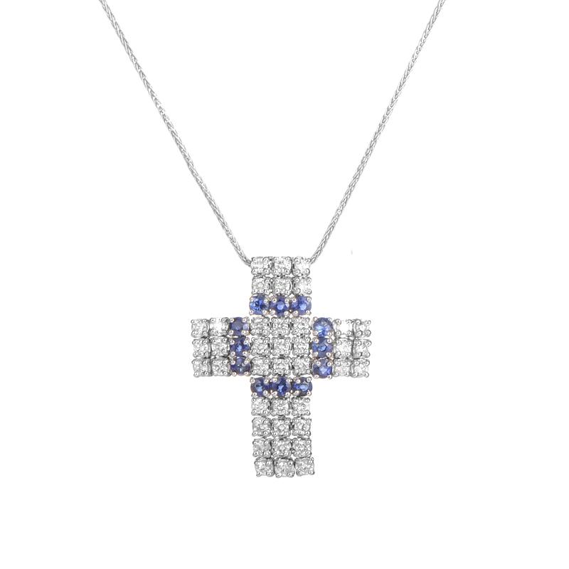 18K White Gold Diamond & Sapphire Cross Pendant Necklace