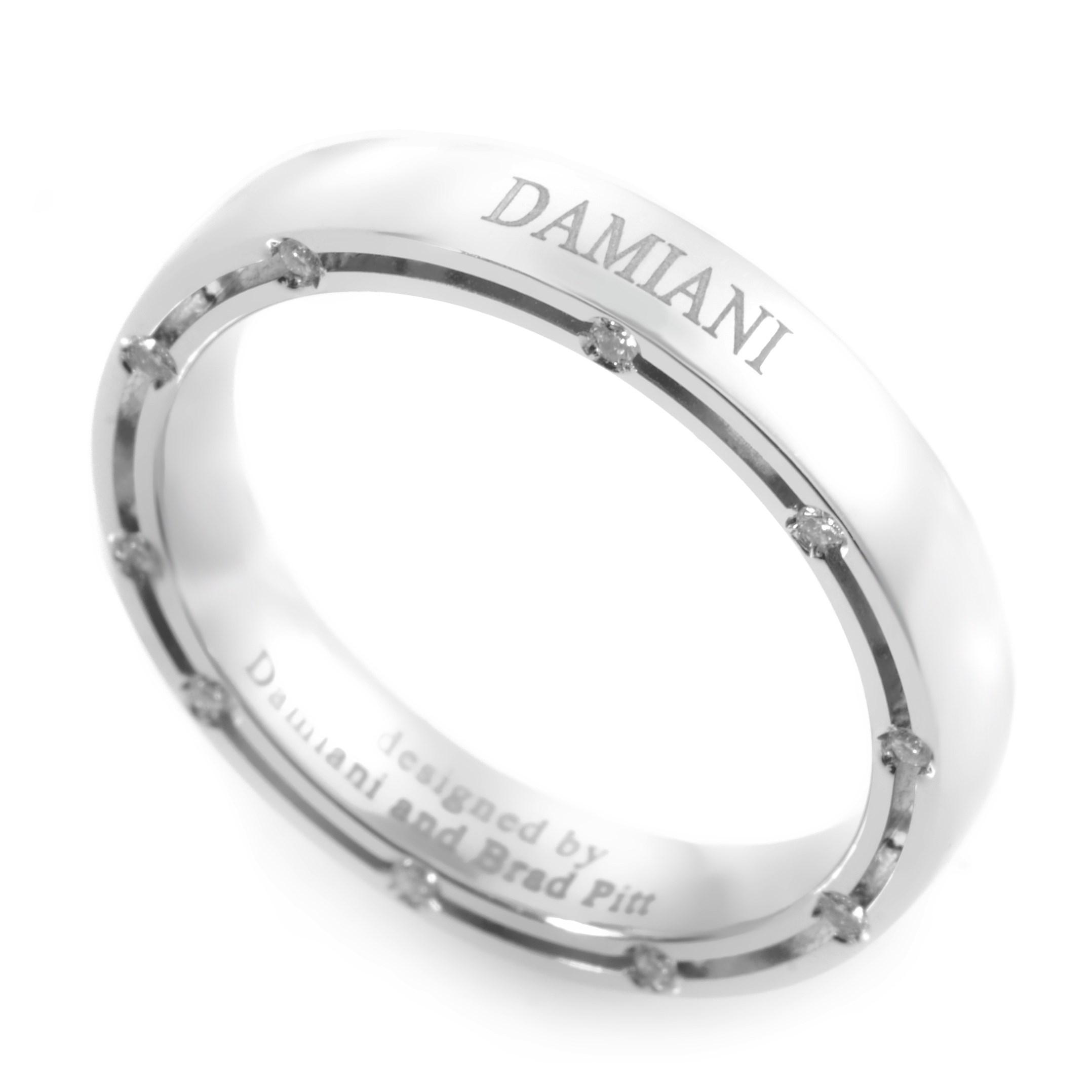 D.Side Brad Pitt 18K White Gold Diamond Band Ring 20008641