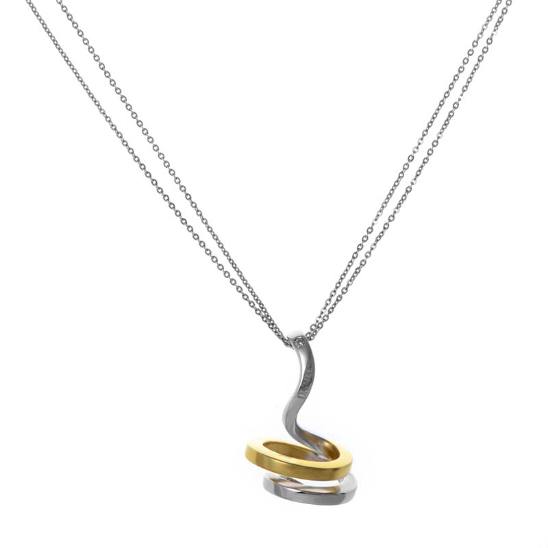 Eden 18K White & Yellow Gold Spiral Pendant Necklace