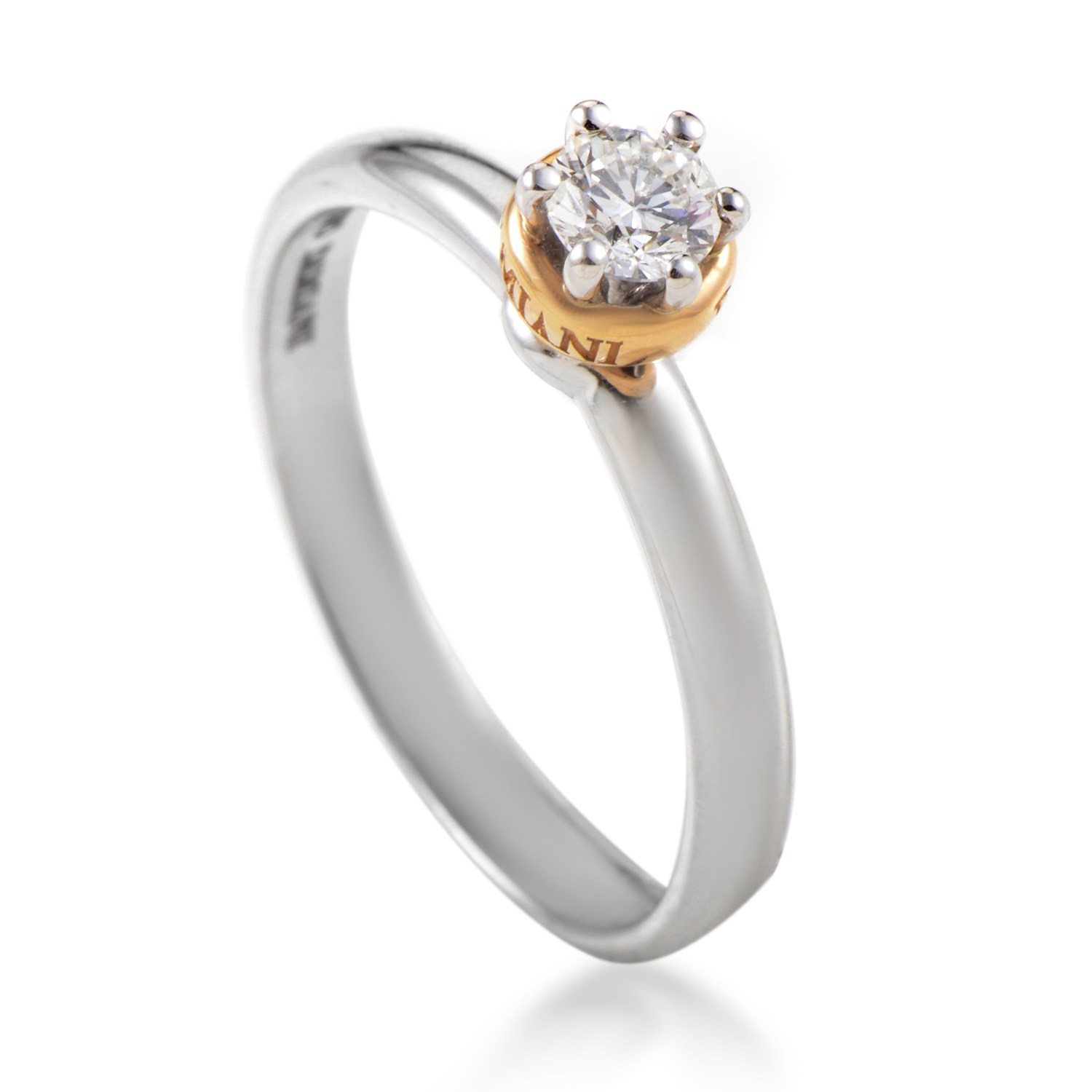 Domina Platinum & 18K Rose Gold .25ct Diamond Solitaire Engagement Ring