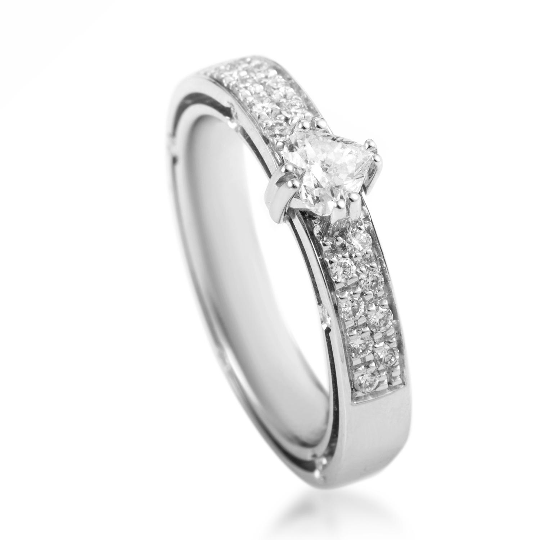 D.Side Brad Pitt 18K White Gold Diamond Engagement Ring 20022776