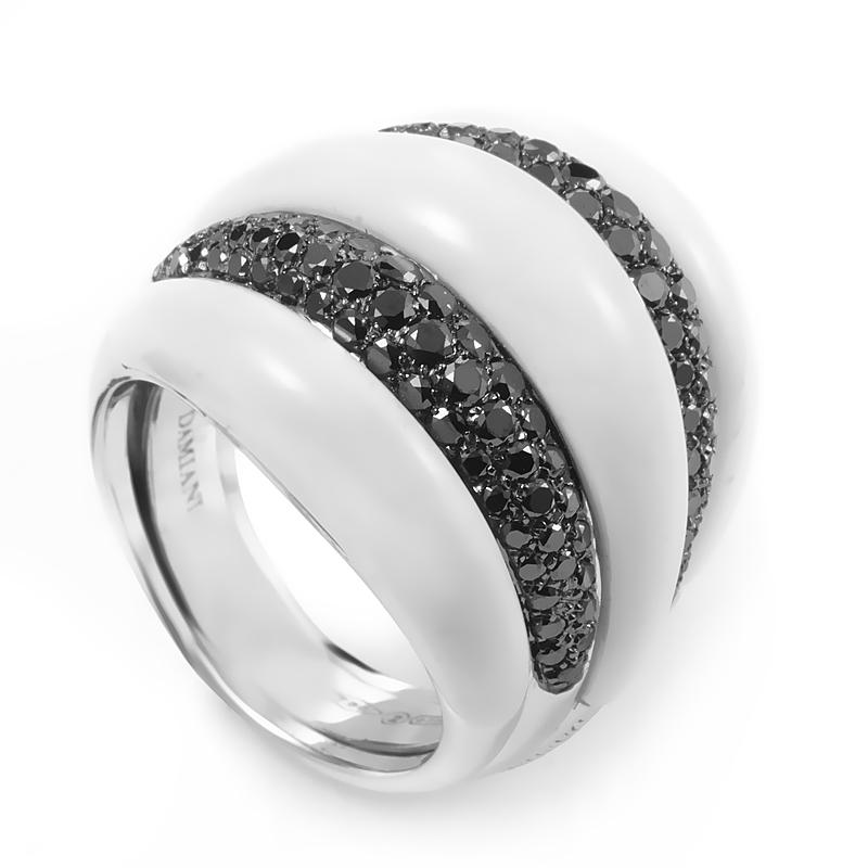 Spicchi di Luna 18K White Gold Black Diamond & White Onyx Ring