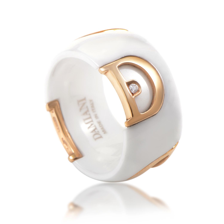 damiani 18k gold white ceramic band ring