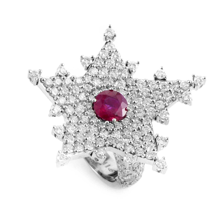 18K White Gold Diamond & Ruby Star Ring 5270083