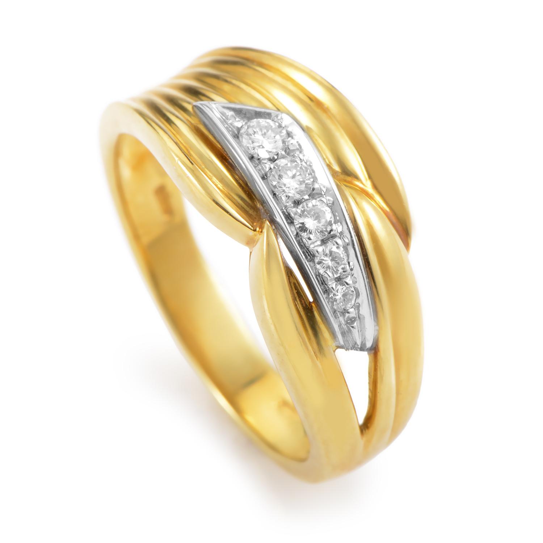 18K Multi-Tone Gold Diamond Band Ring DAB76358