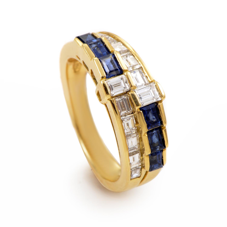Damiani 18K Yellow Gold Diamond and Sapphire Band Ring