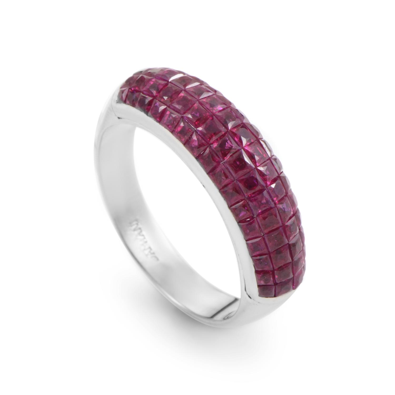 Damiani 18K White Gold Ruby Band Ring
