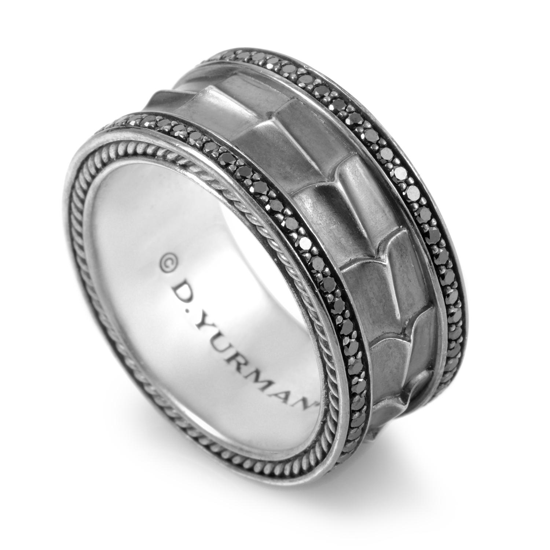 David Yurman Armory Sterling Silver Black Diamond Band Ring