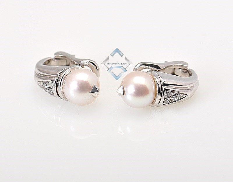 18K White Gold Diamond Pearl Earrings