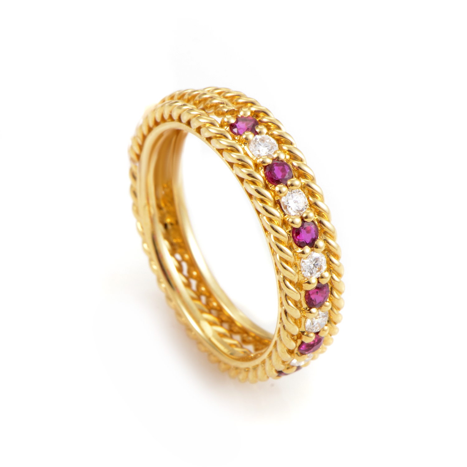 Dior 18K Yellow Gold Ruby and Diamond Band Ring