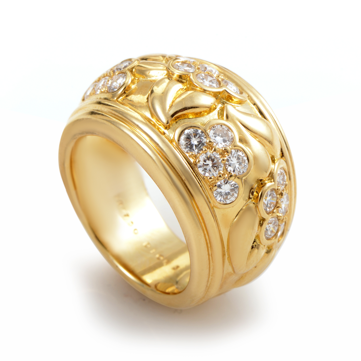 Dior 18K Yellow Gold Floral Diamond Band Ring
