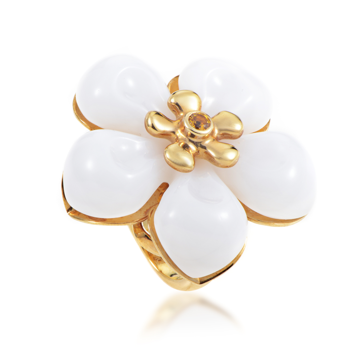 Dior Women's 18K Yellow Gold White Jade & Yellow Sapphire Flower Ring
