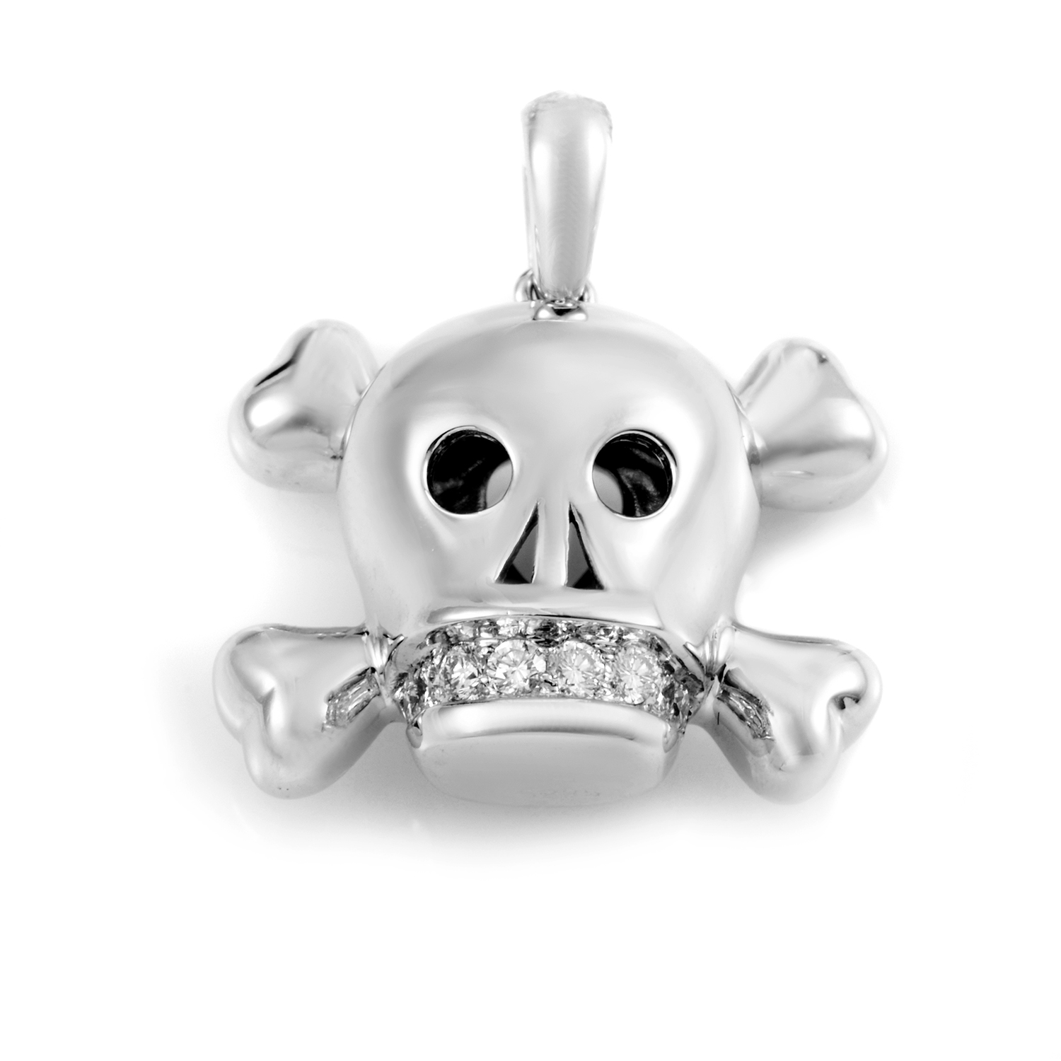 Tête de Mort 18K White Gold Diamond Pendant