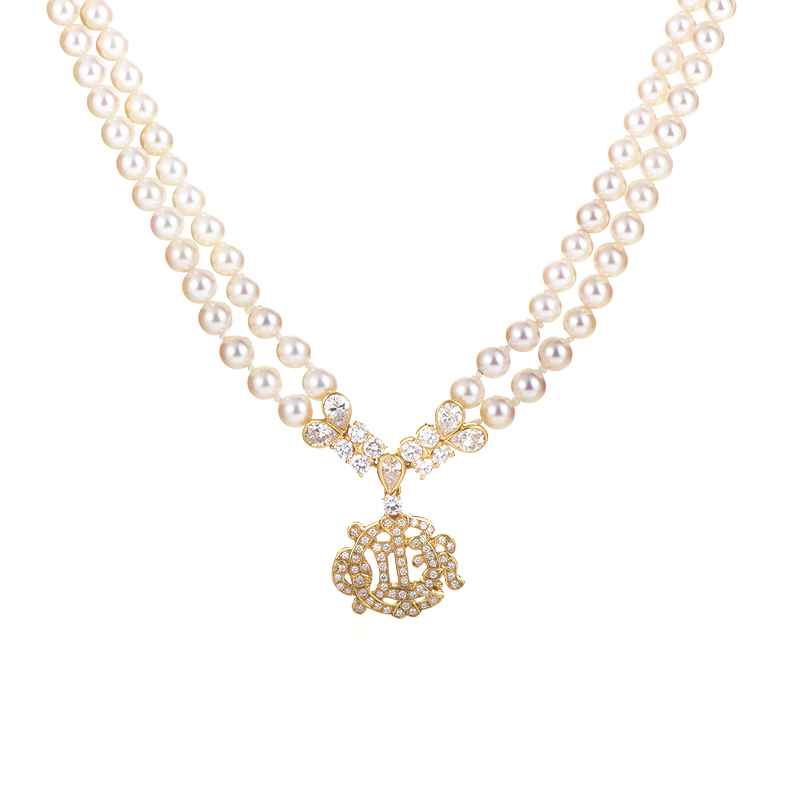 Christian Dior 18K Yellow Gold Diamond & Pearl Necklace
