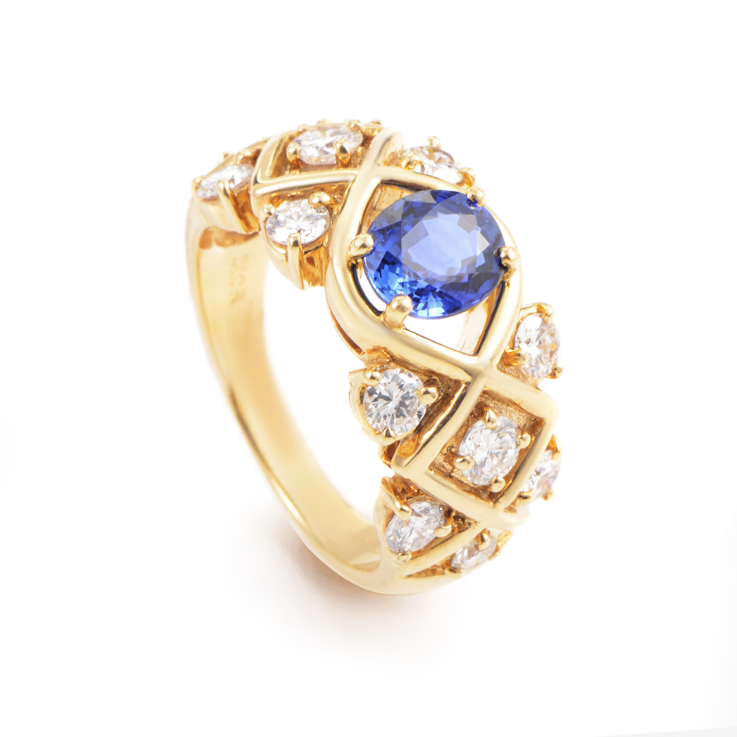 Dior 18K Yellow Gold Diamond and Sapphire Ring