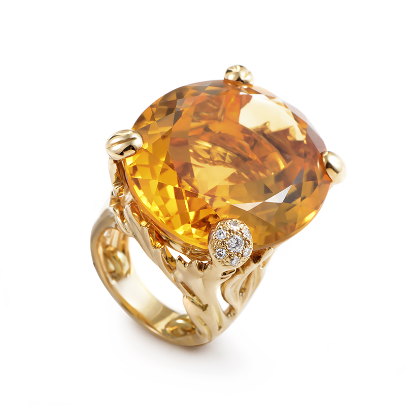 Miss Dior 18K Yellow Gold Citrine & Diamond Cocktail Ring