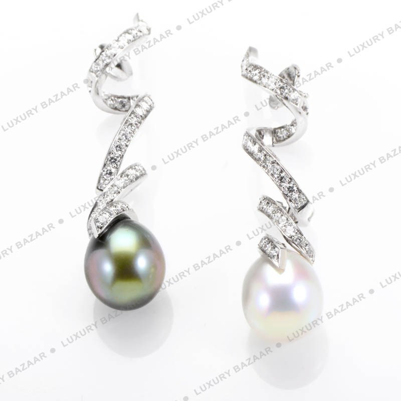 18K White Gold Diamond and Pearl Swirl Earrings