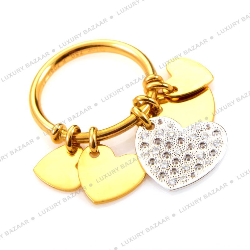 18K Yellow and White Gold Diamond Hearts Dangle Ring
