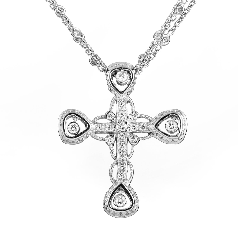 Doris Panos Women's 18K White Gold Diamond Crucifix Pendant Necklace