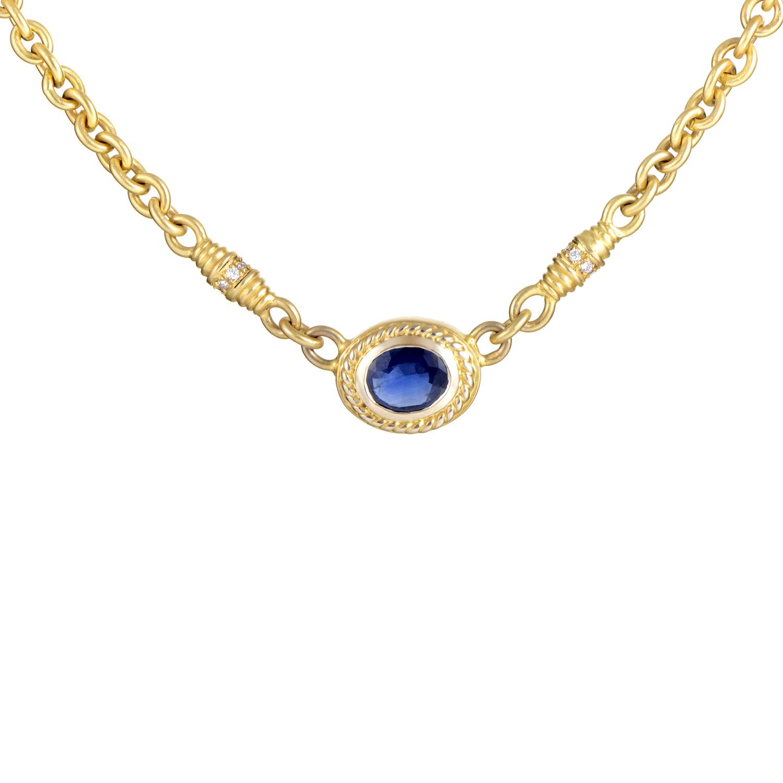 Doris Panos Women's 18K Yellow Gold Diamond & Sapphire Pendant Necklace