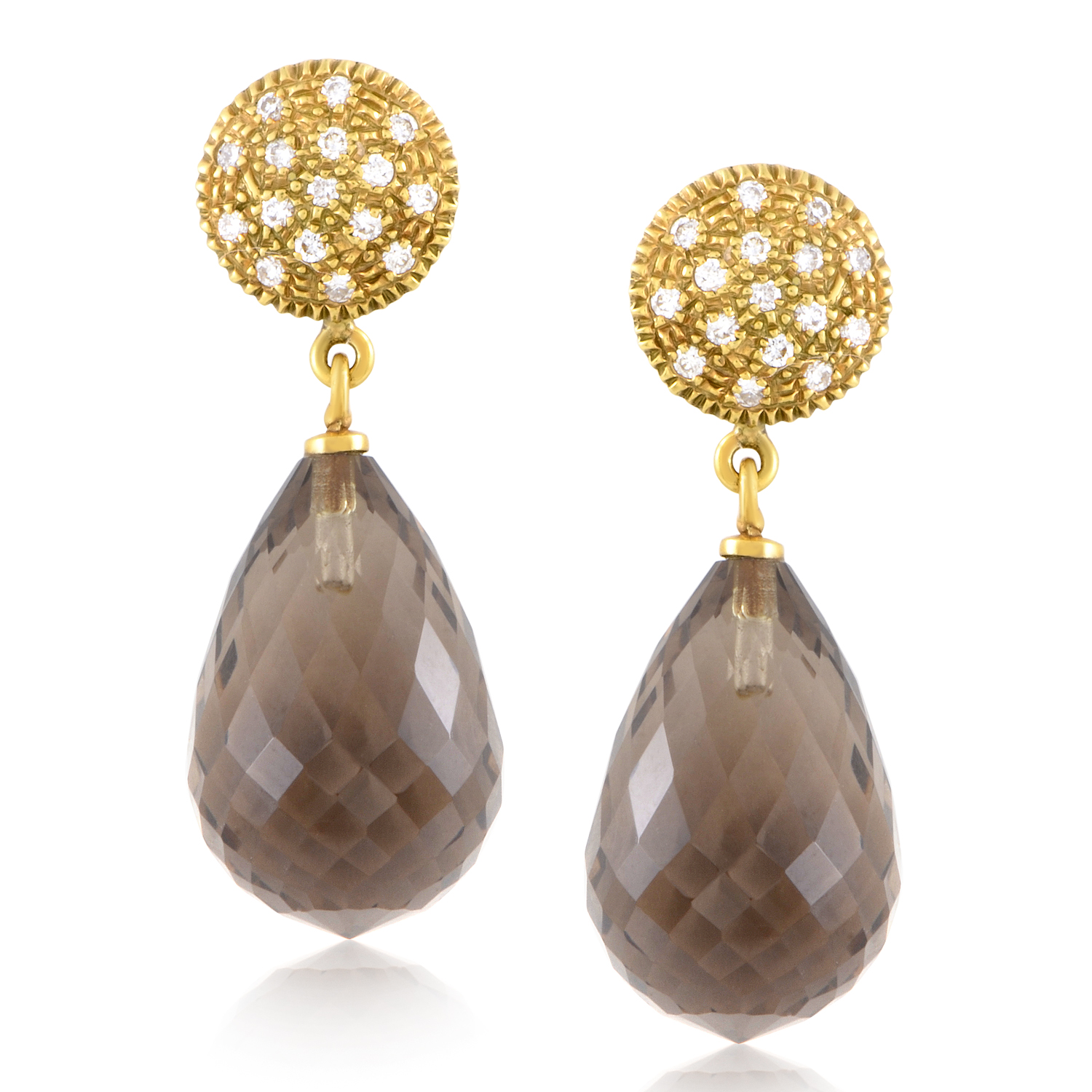 Women's 18K Yellow Gold Diamond & Smoky Quartz Earrings