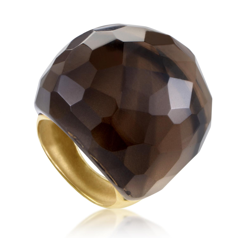 Women's 18K Yellow Gold Smoky Quartz Cocktail Ring