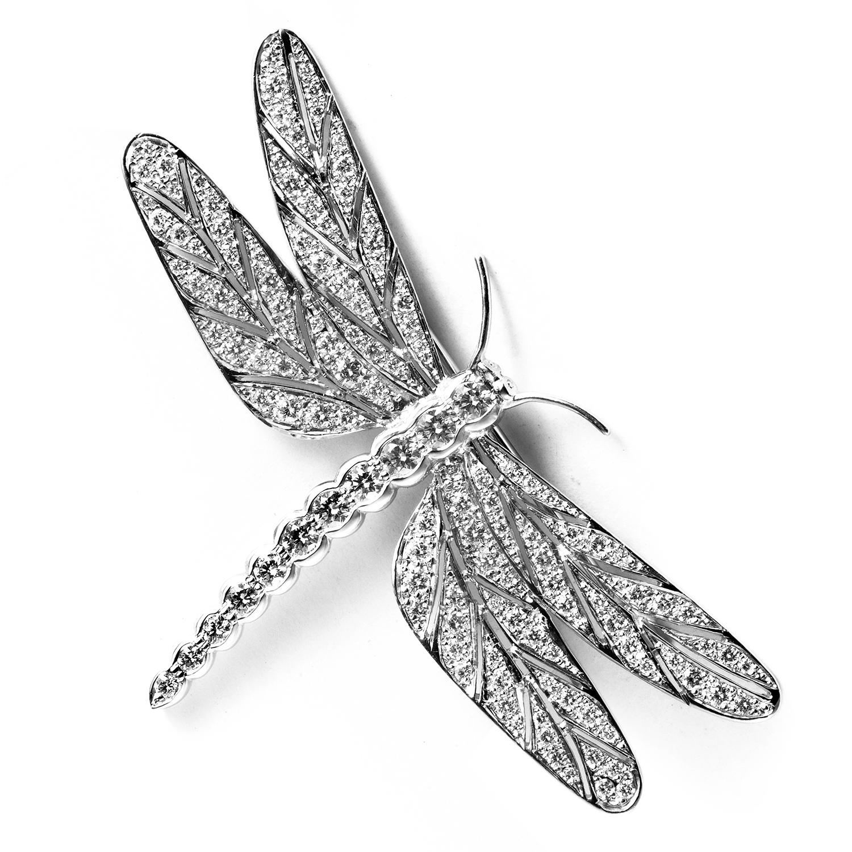 E. Wolfe 18K White Gold Diamond Pave Dragonfly Brooch