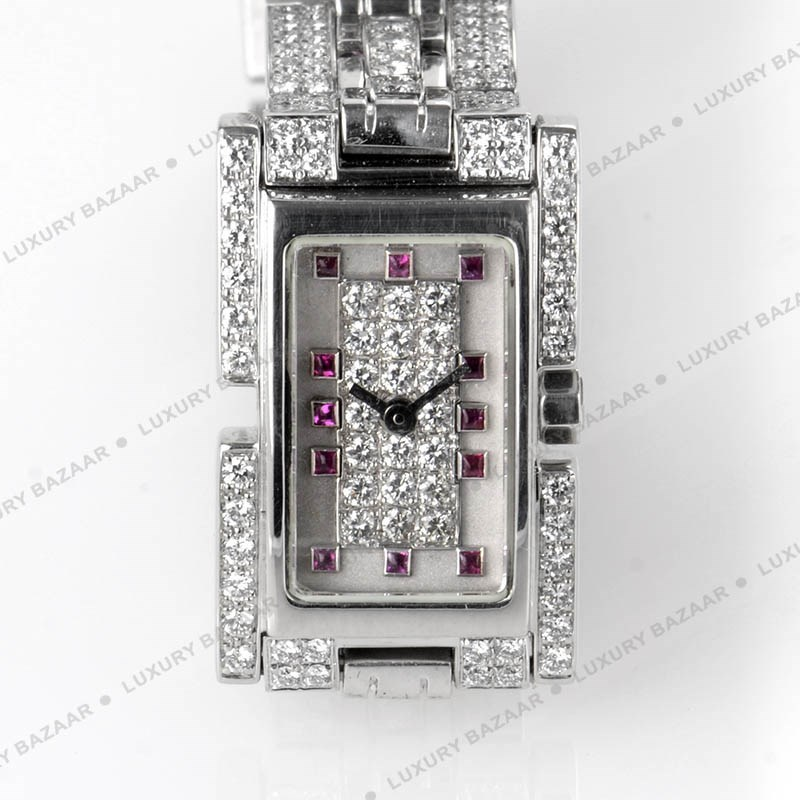 Fred 18K White Gold Diamond and Ruby Watch 1060467