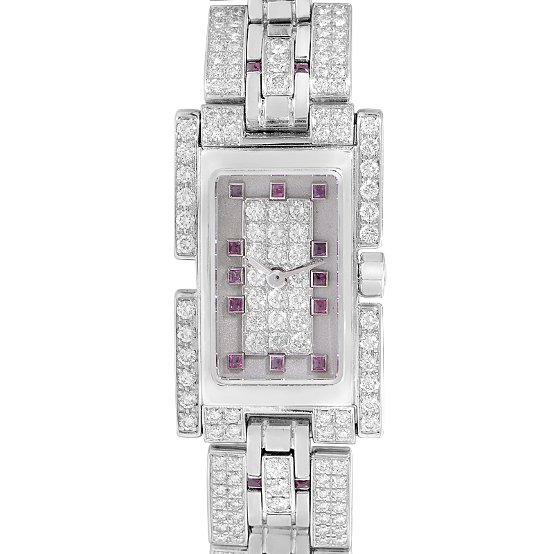 Fred of Paris 18K White Gold Diamond and Ruby Watch 1060467