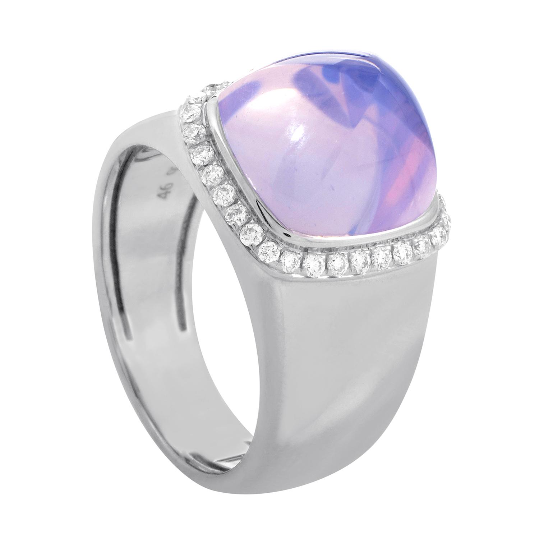 Pain de Sucre Women's 18K White Gold Diamond & Amethyst Ring