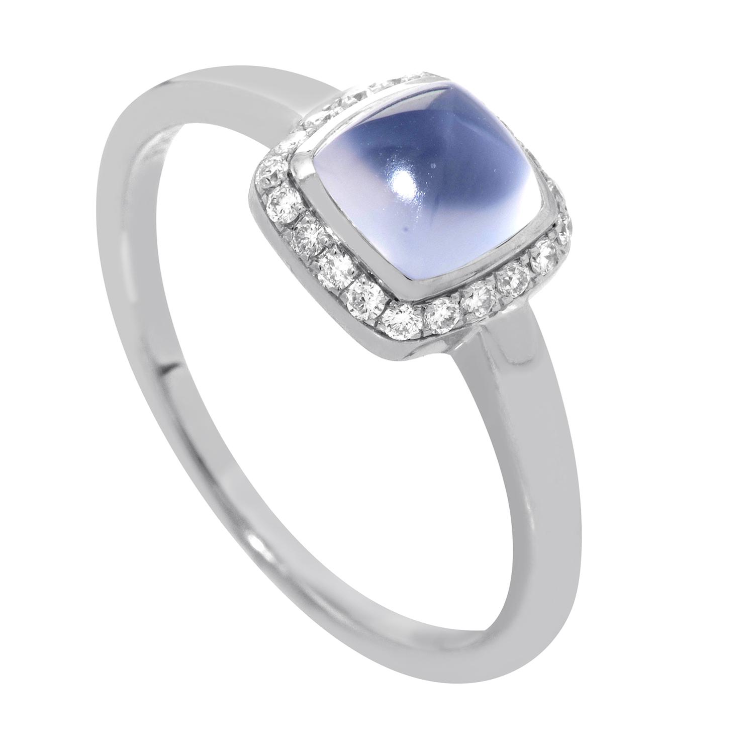 Pain de Sucre 18K White Gold Chalcedony & Diamond Ring