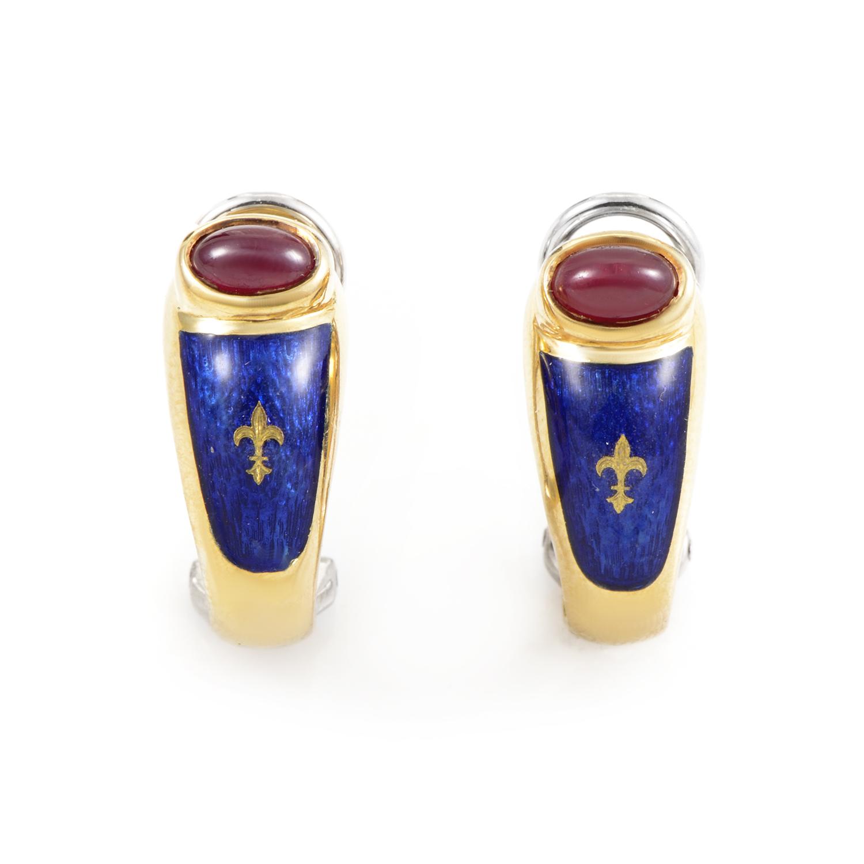 Fabergé 18K Yellow Gold Ruby & Enamel Clip-On Earrings