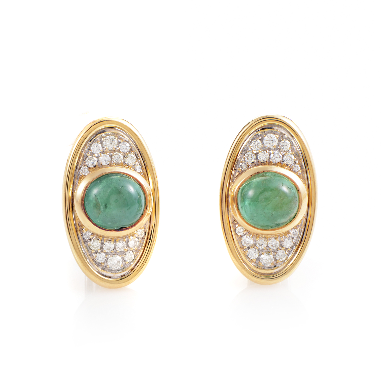 Faraone Mennella 18K Multi-Tone Gold Emerald & Diamond Clip-on Earrings