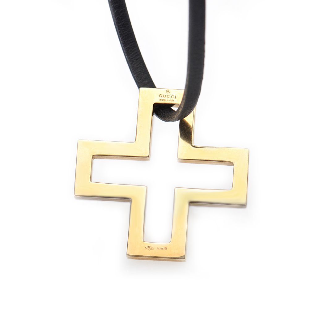 18K Yellow Gold Openwork Crucifix Pendant Necklace