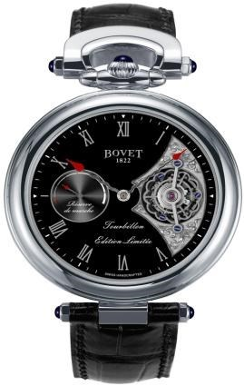 Fleurier 44 Tourbillon 7 Days Amadeo (WG / Black Enamel-MOP / Leather Strap)