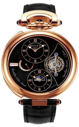 Fleurier 46 Tourbillon Orbis Mundi Amadeo (RG / Black Enamel-MOP / Leather Strap)