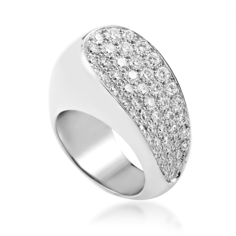 Fred of Paris Women's 18K White Gold Partial Diamond Pave Ring