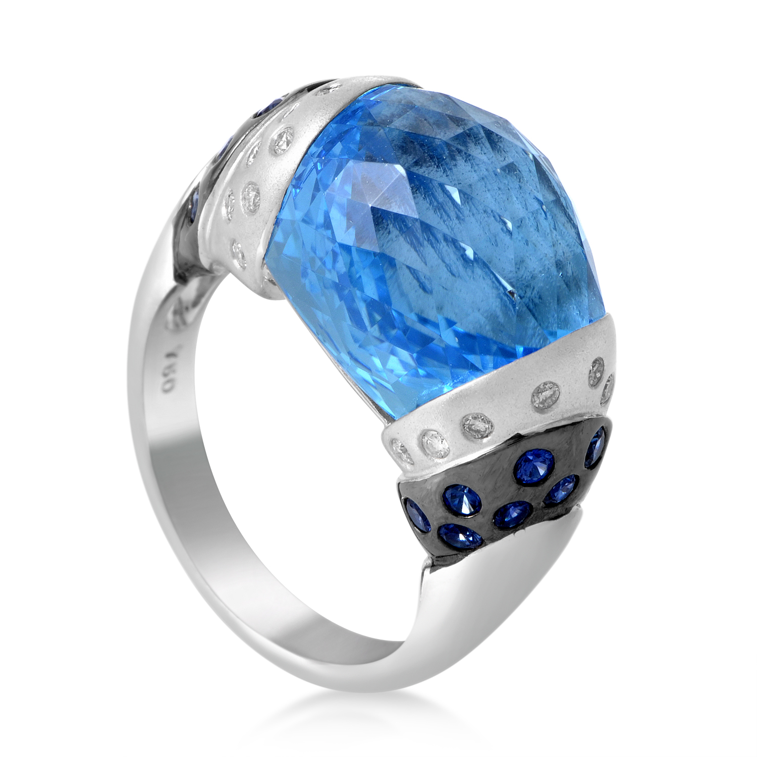 Women's 18K White Gold Diamond & Blue Gemstone Ring 11932