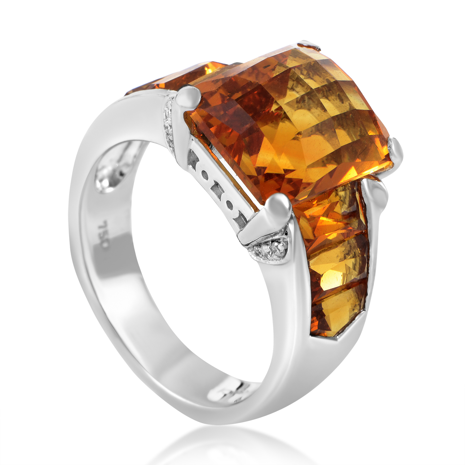 Women's 18K White Gold Diamond & Citrine Ring 12294