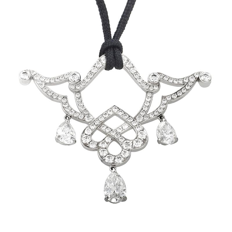 18K White Gold Openwork Diamond Pendant Necklace