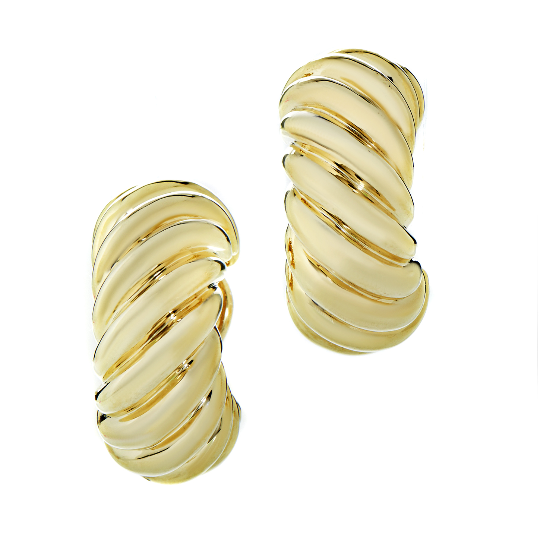 David Yurman Women's Ridged 18K Yellow Gold Shrimp Earrings