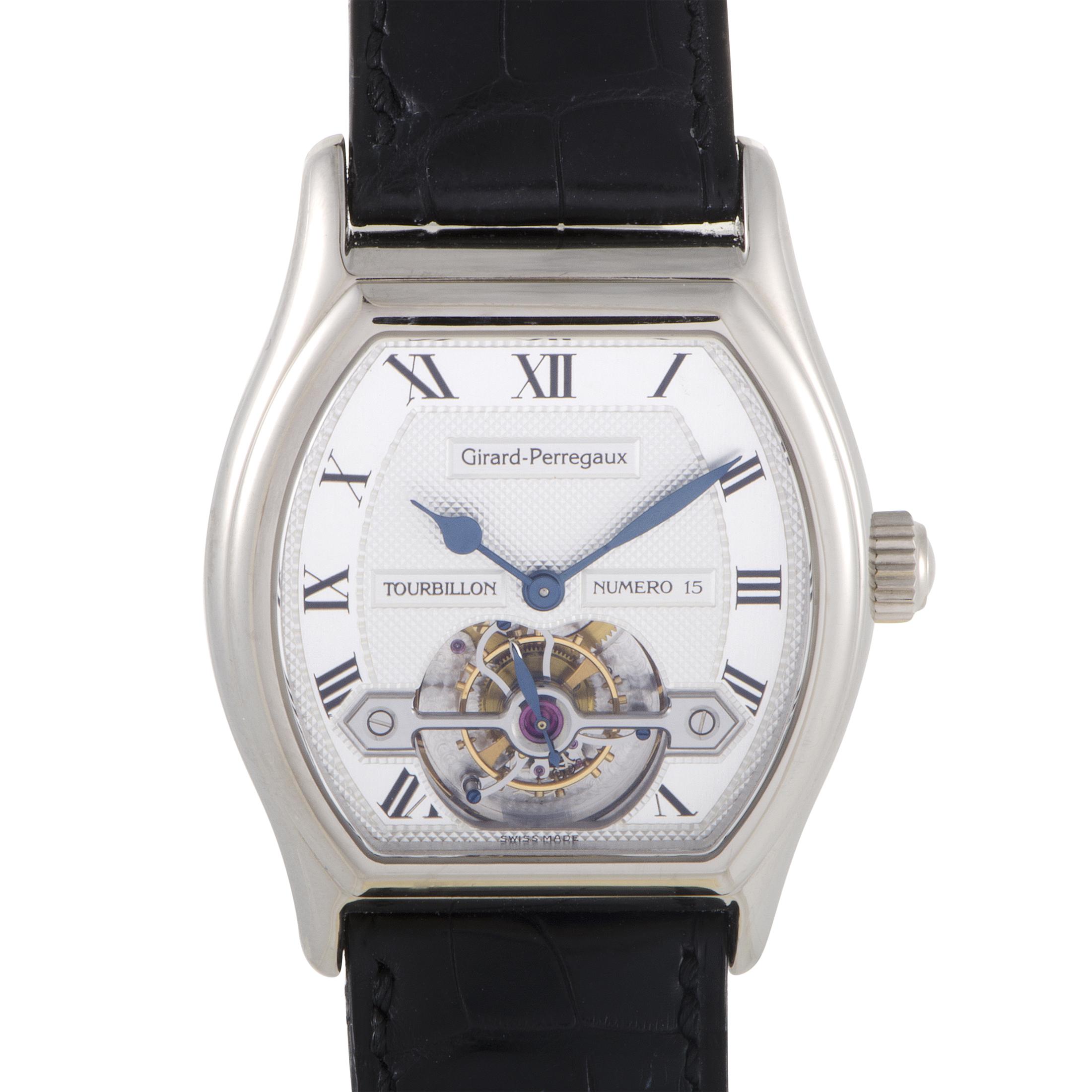 Girard-Perregaux Mens Automatic White Gold Tourbillon Watch 9930