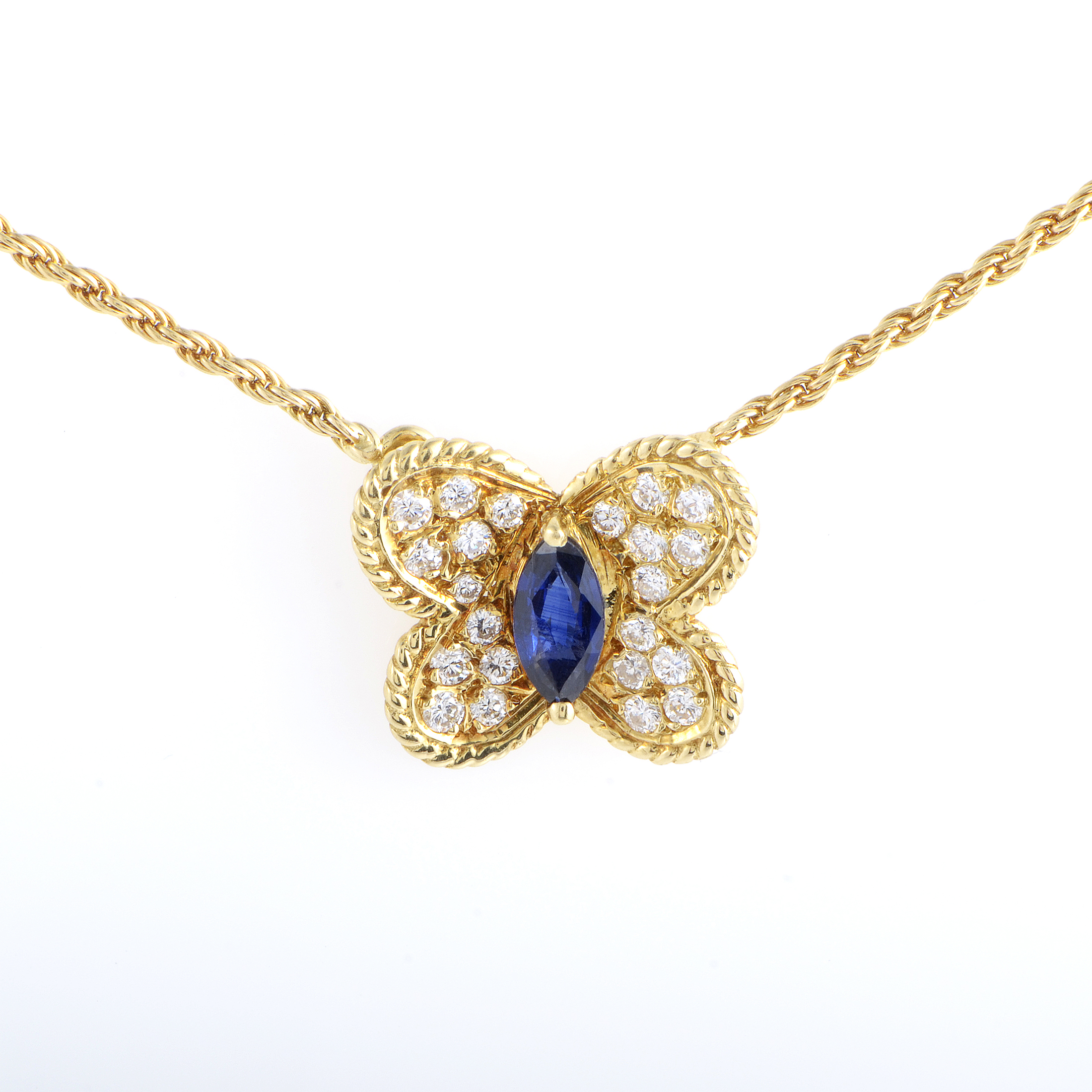 Graff Women's 18K Yellow Gold Diamond & Sapphire Butterfly Pendant Necklace
