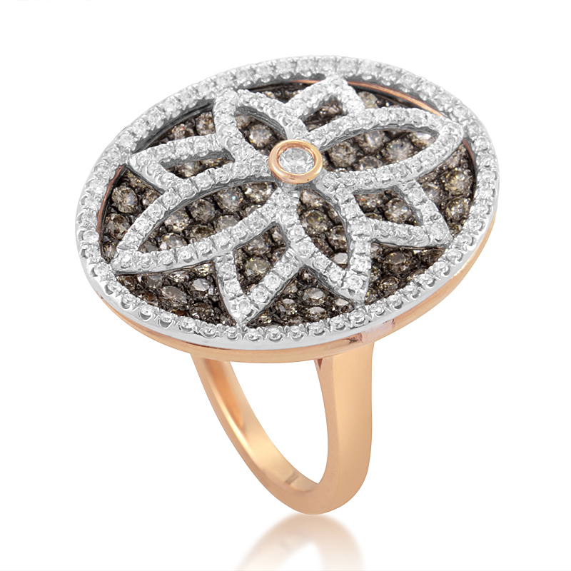 Women's 18K Rose Gold Multi-Diamond Flower Ring RD8-10006R