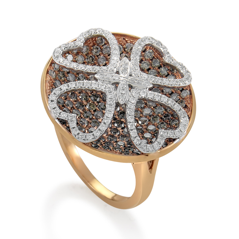 Women's 18K Rose Gold Multi-Diamond Clover Ring RD8-10010R