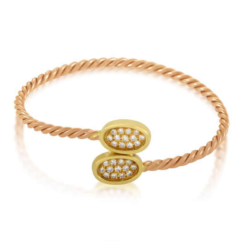 Gregory 18K Yellow Gold Pave Bangle Bracelet