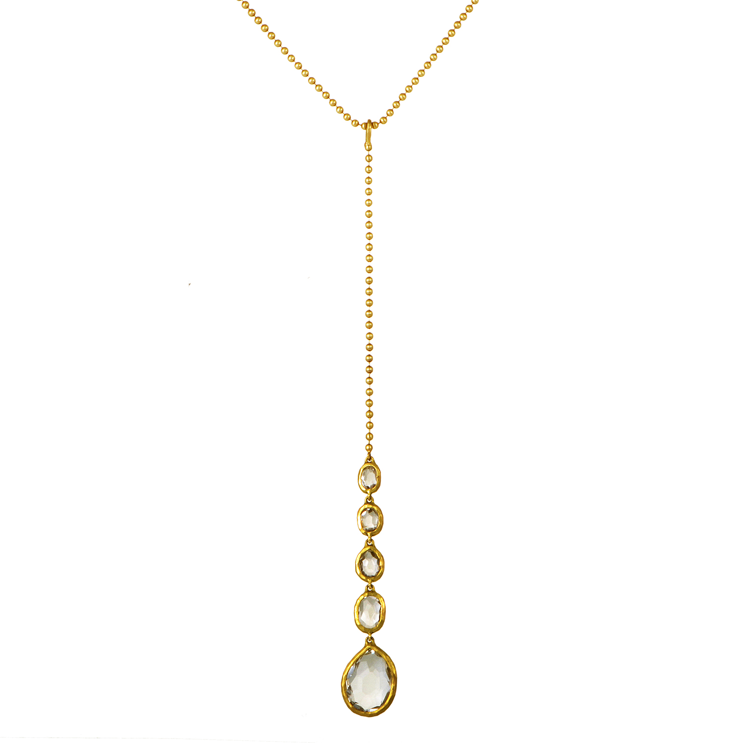 Women's 18K Yellow Gold Long White Topaz Pendant Necklace