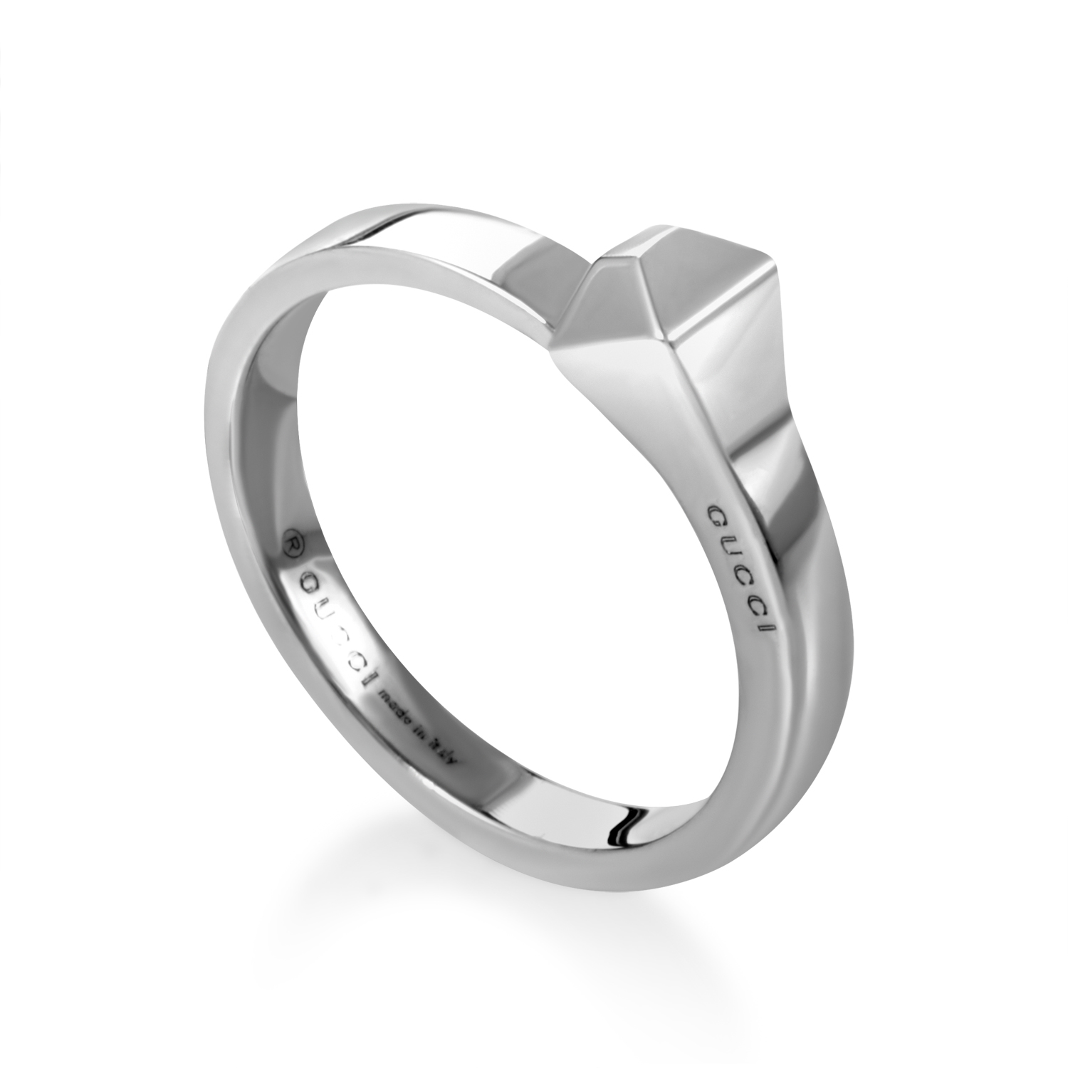 Chiodo Womens 18K White Gold Band Ring