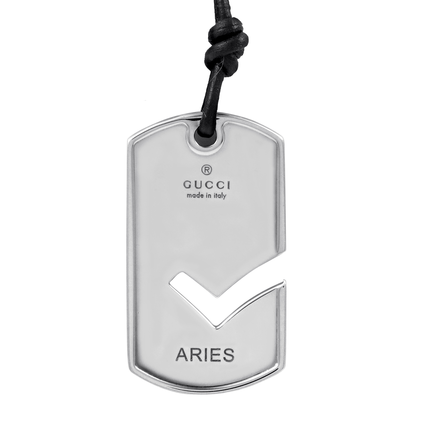 Unisex Sterling Silver Aries Zodiac Pendant & Rubber Cord Necklace