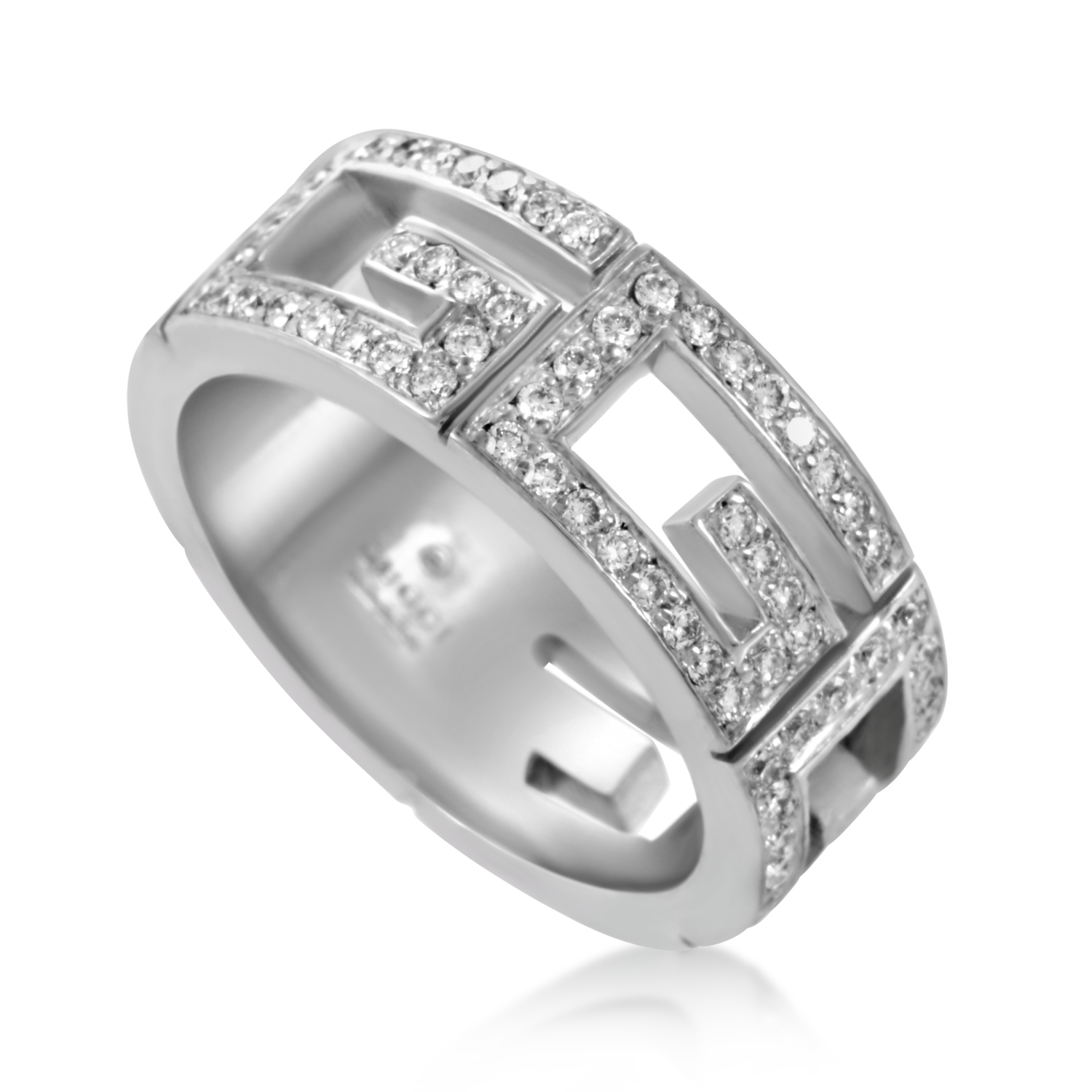 Gucci Women's 18K White Gold Diamond Cut-out Band Ring